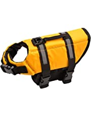 Oxford Dog LifeJacket Ripstop Quick Release Easy-Fit Life Preserver (M, Yellow)