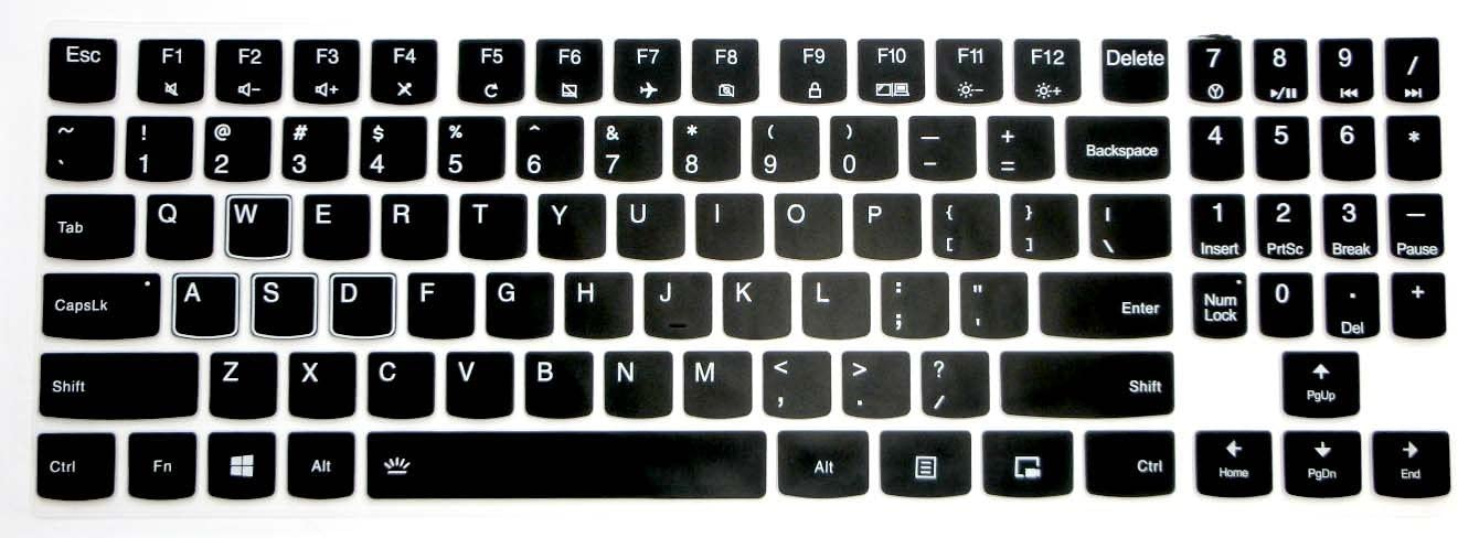 US Layout Keyboard Protector Skin Cover for Lenovo Legion Y720 Y540 Y545 Y530 Y520 R720 Y7000(15''), Y540 Y730 Y740 (17'') with BingoBuy Card Case (Black)