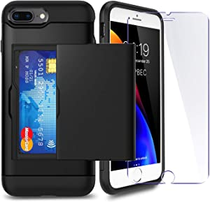 iPhone 7P/ 8P Plus Case with Card Holder and[ Screen Protector Tempered Glass x2Pack] SUPBEC i Phone 7 Plus / 8 Plus Wallet Case Cover with Shockproof Silicone TPU + Anti-Scratch Hard PC (Black)