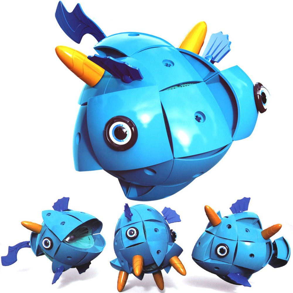 O-Toys Magnetic Toys for Boys Girls Animal Kids Magnet Toy DIY 3D Puzzle Transform Magnetic Balls Egg Pieces Learning Education Building Blocks Birthday for Toddlers (Blue Fish)