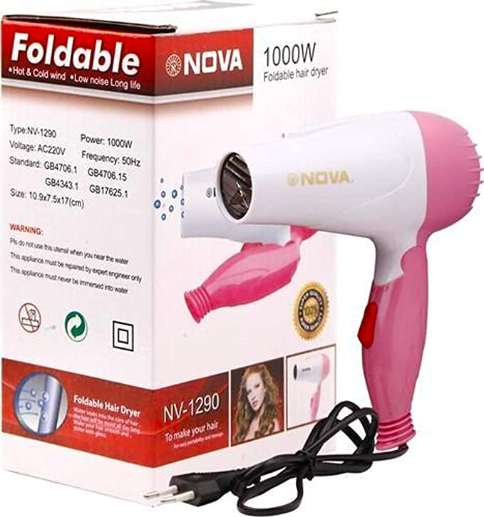 nova 1290 1000 W Hair Dryer Pink and White Hair Dryers