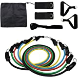 IDEALUX Resistance Band Set, 11 Sets Include 5 Stackable Exercise Bands with Carrying Case, Foam Handles,Door Anchor Attachment, Legs Ankle Straps, for Male & Female Practicing, Arm Muscles Practicin