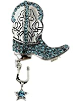 Glittering Crystal Cowboy Boot with Spur Brooch and Pendant