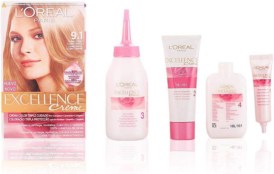 LOreal Excellence Creme - Tinte, color 9,1 rubio claro claro ...