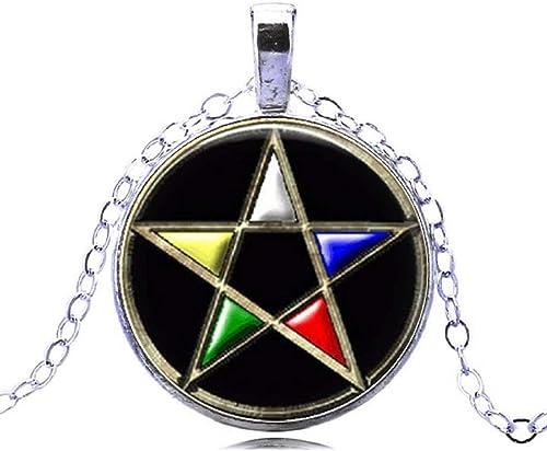HZ00336 Pentacle Locket Necklace Pentacle Jewelry Symbolic Jewelry Wiccan Jewelry Locket Necklace Pentacle Wiccan Jewelry,Glass Dome Locket Pendant,Photo Locket Pendant,Glass Dome Locket Necklace