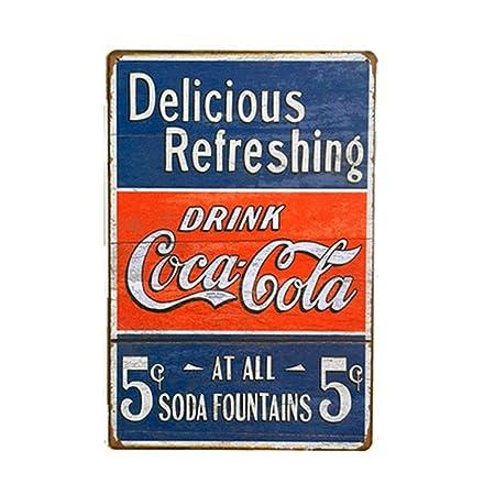 Retro Coca Cola Pin Up - Placa metálica con varios patrones, 20 x ...