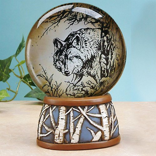 unison gifts 6.5'' North Amber Light Up Water Globe with Alpha Wolf Design