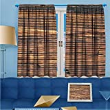 SCOCICI1588 Rod Pocket Thermal Insulated Curtains, High definition feature of wood texture Room Darkening Blackout Curtains Window Panels, W52'' x L63'' Pair