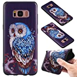 Galaxy S8 Case [with Free Screen Protector],Kwapo® Colorful Cartoon Painted Design Ultra-Slim Transparent Soft Flexible TPU Silicone Back Rubber Bumper Clear Protective Cover Case for Samsung Galaxy S8 - Owl
