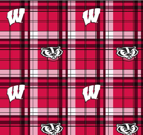 Wisconsin Badgers Fleece - WISCONSIN FLEECE FABRIC-WISCONSIN BADGERS PLAID FLEECE FABRIC-SOLD BY THE YARD