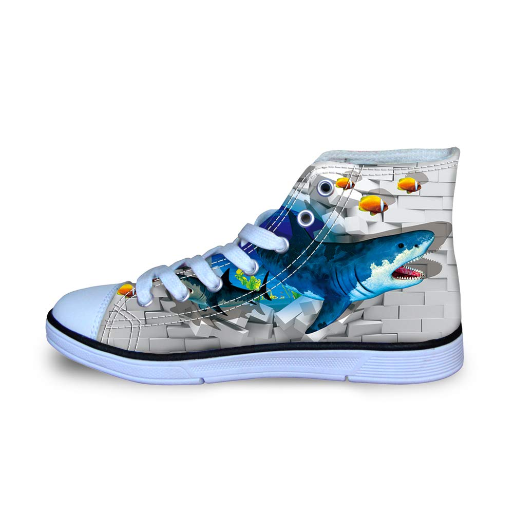 Canvas High Top Sneaker Casual Skate Shoe Boys Girls Great White Sharks Break Through Wall