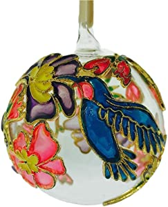 Home and Holiday Shops Hummingbird Cloisonne Glass Ball Christmas Tree Ornament Bird Decoration New