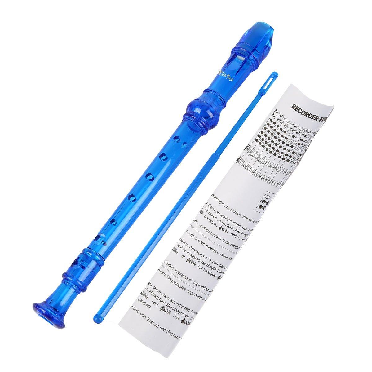 EVERJOYS Flauta Diáfana de 3 Piezas para Niños, Colorida Flauta de 8 Agujeros Contrapunto Soprano con Varita de limpieza, Funda de Transporte e ...