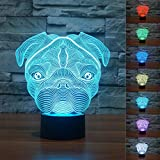 3D Sharpei Puppy Bulldog Dog Animal Night Light 7 Color Change LED Table Desk Lamp Acrylic Flat ABS Base USB Charger Home Decoration Toy Brithday Xmas Kid Children Gift