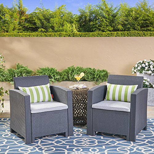 Great Deal Furniture Fiona Outdoor Charcoal Faux Wicker Club Chairs with Light Grey Water Resistant Cushions (Set of 2)