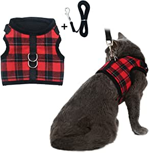 Escape Proof Cat Harness with Leash - Adjustable Soft Mesh - Best for Walking Plaid Large