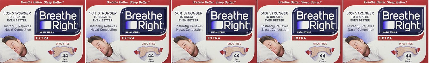 Breathe Right, Extra Strong Nasal Strips One Size Fits All 44 Count SLcUr (Pack of 5)