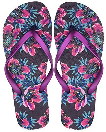 da6d8dddedfc Finoceans Women s Sandal Flip Flops Tong Retro Slim Mulberry Floral 9B(M)