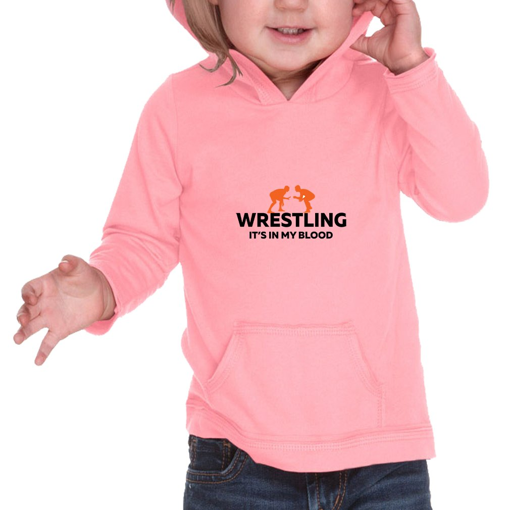 Wrestling It'S In My Blood Infants Jersey Raw Edge Hoodie Flamingo 12 Months