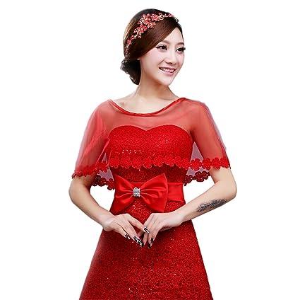 Jungen - Chal para vestido de novia, de encaje, para boda y fiesta,
