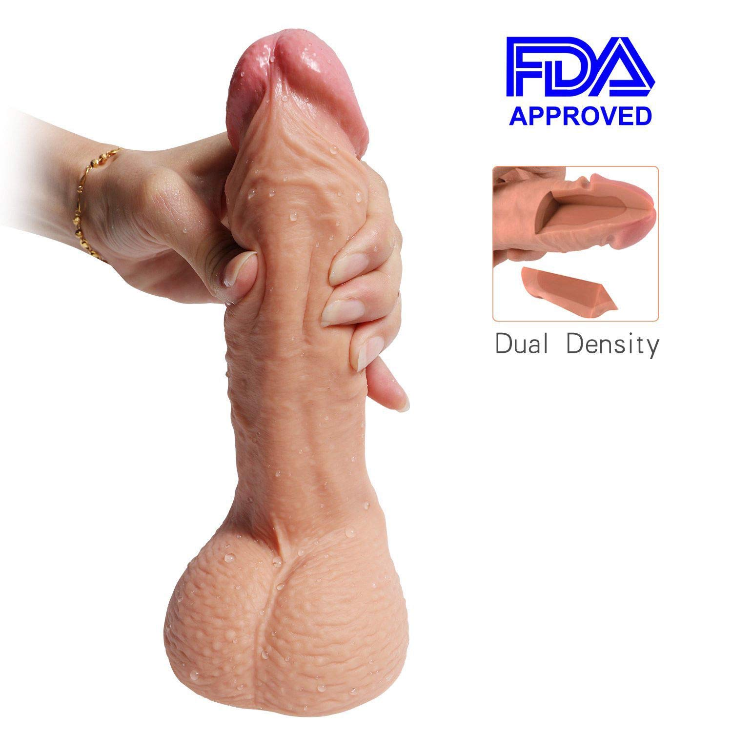 Hyper Realistic 7.87'' Dildo, Bendable G-Spot Premium Liquid Silicone Penis Dong Cock with Suction Cup Sex Toy for Female Masturbation (7.87 Inch)