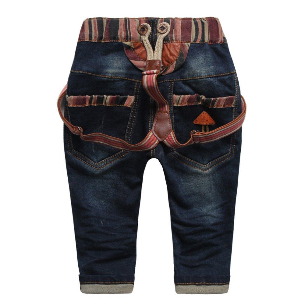 01fd0f305 Amazon.com: Baby Little Boys' Girls' Suspenders Pants Woven Tape Denim Bib  Pants Size 2: Clothing