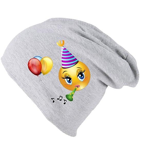c23a1d4a1f50 Mütze Beanie Kinderbeanie mit Emoji Jersey Long Slouch Süß Trend in  Verschiedenen Farben (Grau Emoji