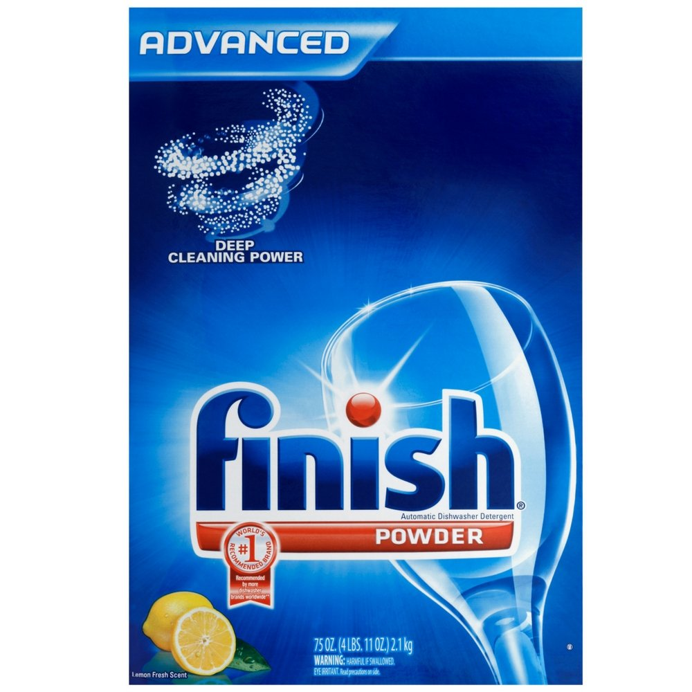 Finish Powder Dishwasher Detergent, Lemon Fresh Scent, 75 oz