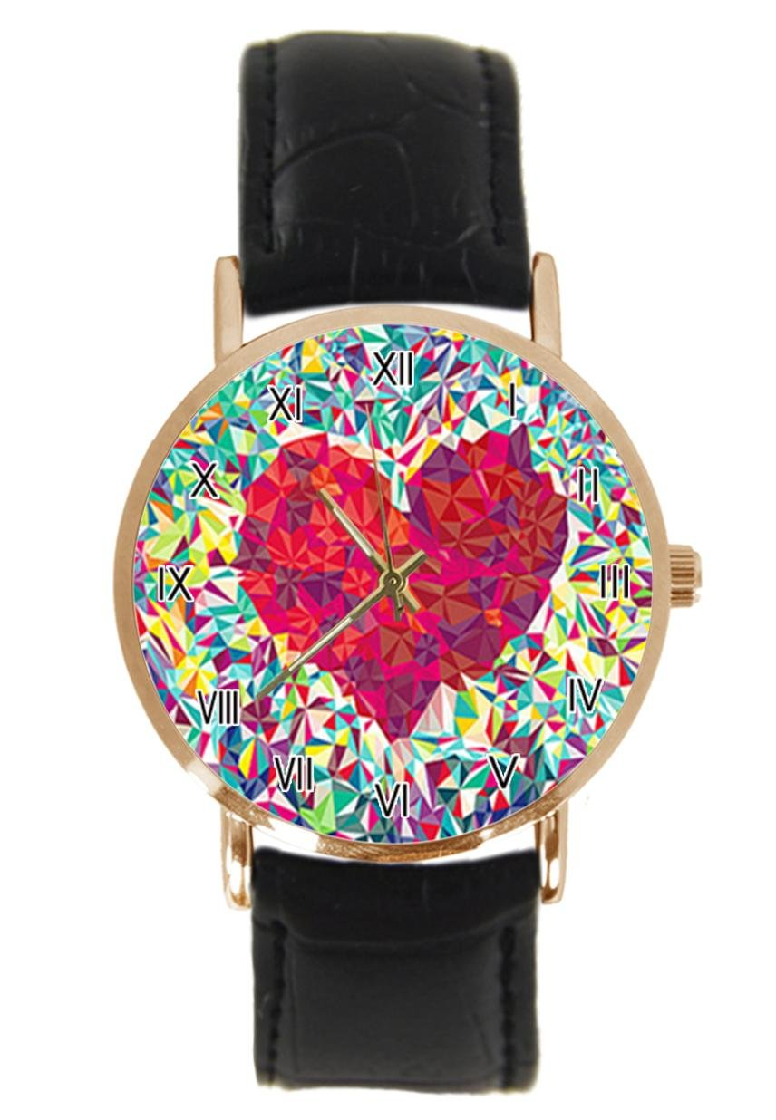jkfgweeryhrt New Simple Piece Of Love Fashion Steel Leather Analog Quartz Sport Wrist Watch