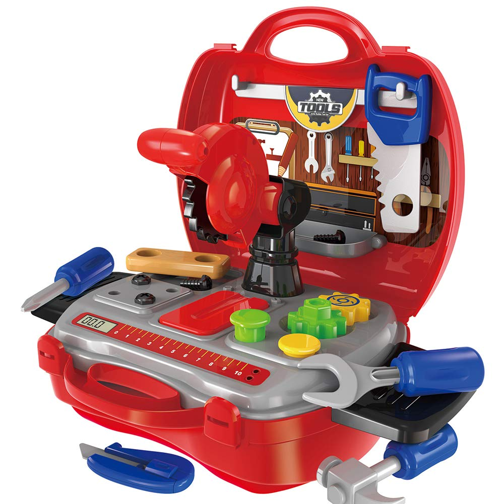 Gizmovine Tool Set for Kids with Sturdy Carry Case, Toolbox for Pretend Play with 19 Pretend Play Construction Accessories