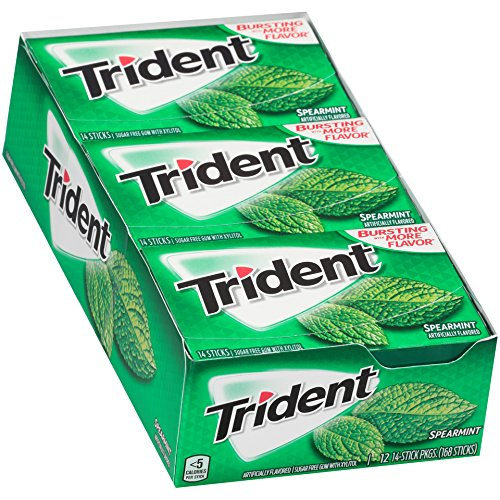 Trident Spearmint Sugar Free Gum - 12 Packs (168 Pieces Total)