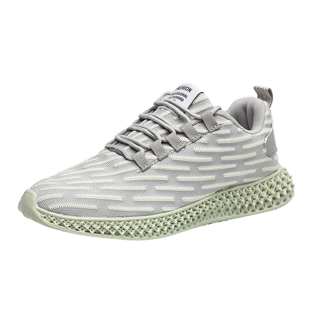 Street Sneakers Men Work Sneakers ✔ Men's Breathable Fly Knit Casual Shoes Lightweight Non-Slip Wild Running Shoes Green