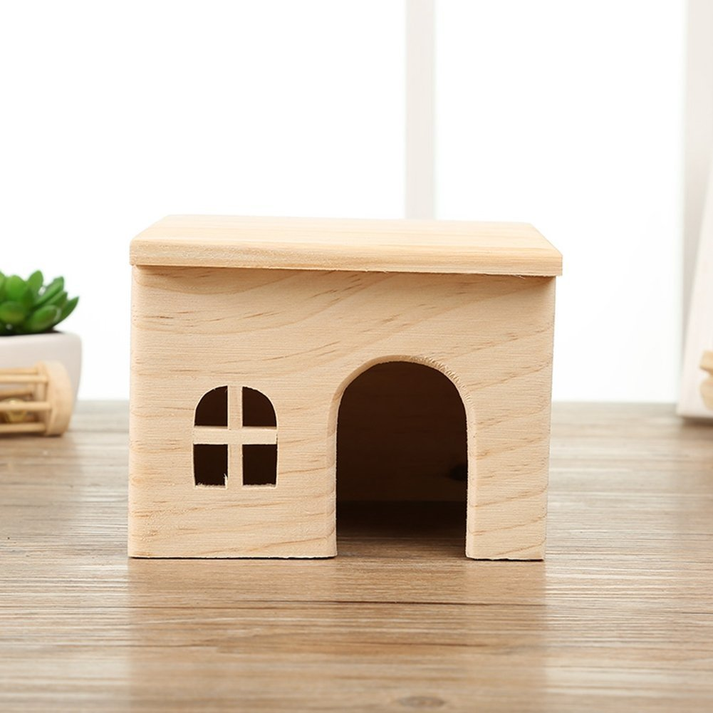 Happy Pet Wood Cat Hedgehogs Cage Hamster Cage Guinea Pig Cage Rabbit Hole Wooden Toy House Small Animal Nesting Habitat (Small)