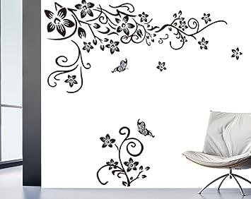 Wandtattoo Wohnzimmer Blumenranke Ornament TV Wand Schlafzimmer  Wandaufkleber Wandsticker