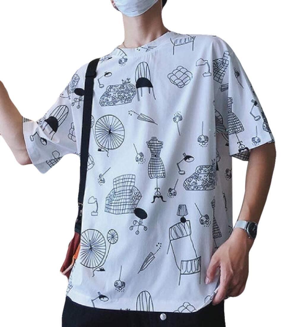 heymoney Mens Casual Summer Short Sleeve Shirt Print Tee O Neck Blouse Top