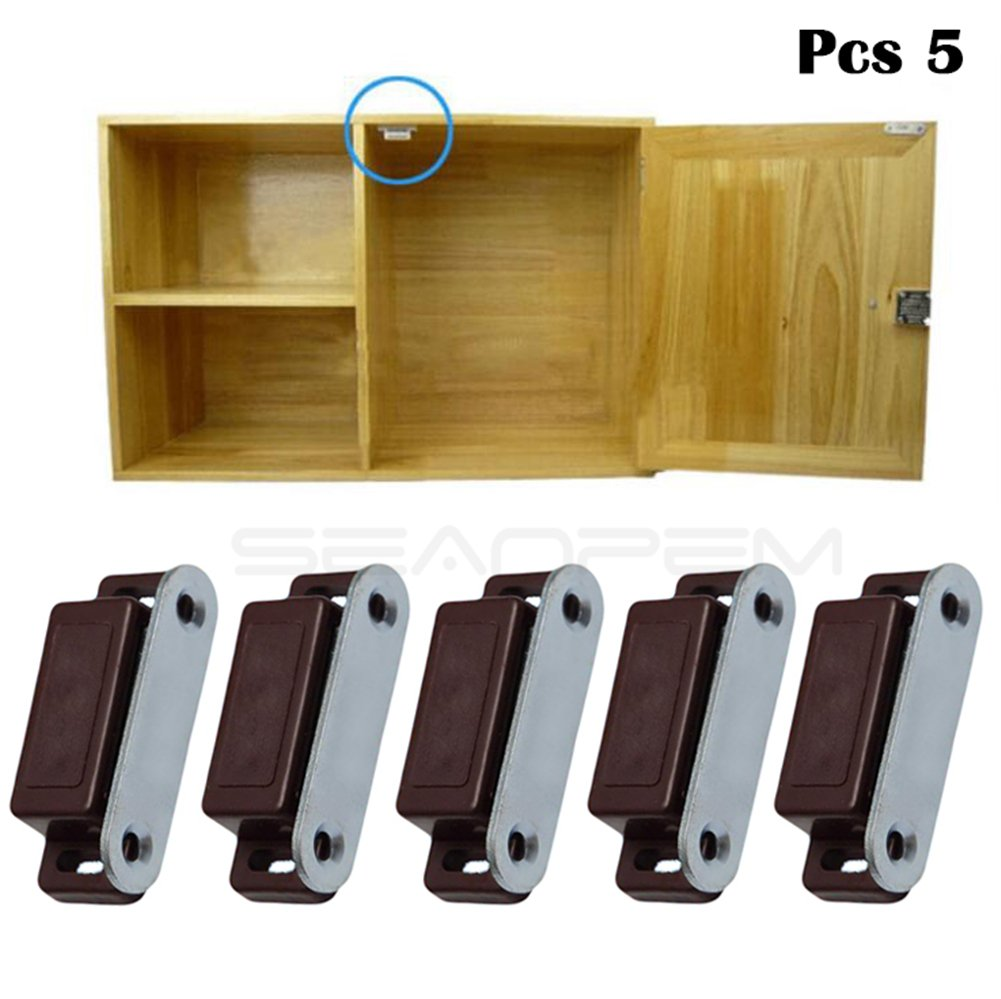Cupboard Cabinet Door Magnet Catch with Screws, Plastic Shell, Rustproof Stainless Steel, 46mm Length, Extra Strong Magnetic Kitchen Touch Latch Closures Small Home Furniture Wardrobe (10 pcs, white) seaNpem