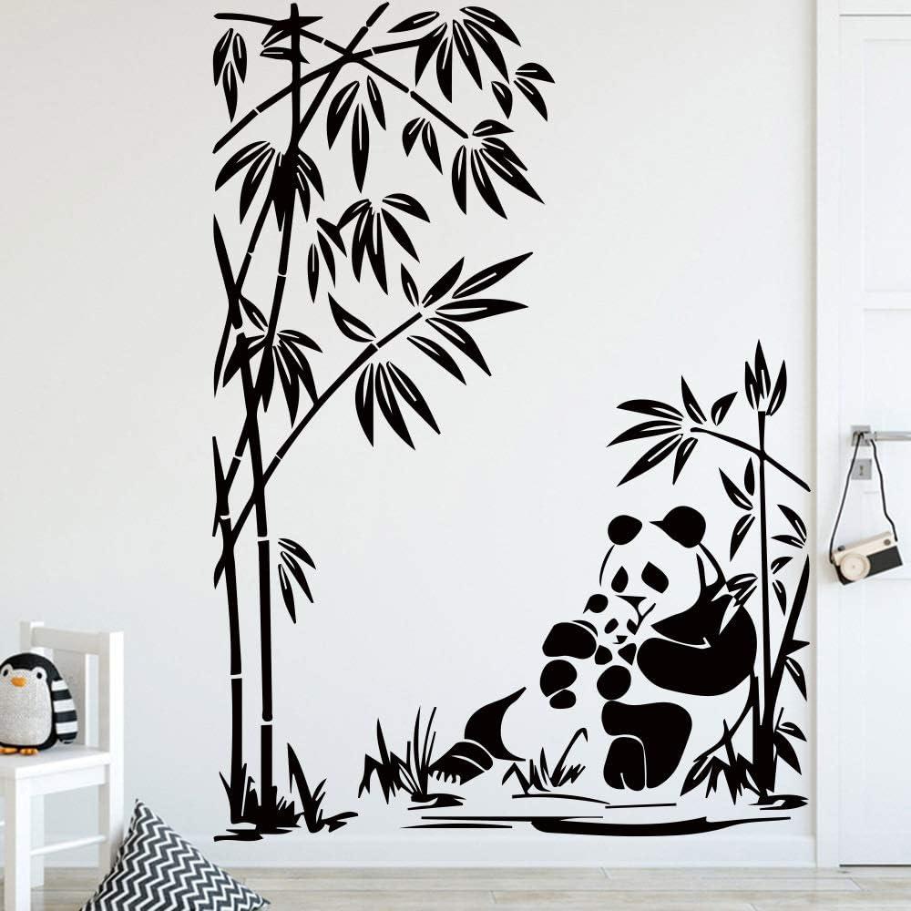 WSYYW Cute Panda Pattern Wall Stickers for Kids Room Decor Accessories Vinyl Applique Bedroom Decor Animal Wall Stickers 35cm X 53cm