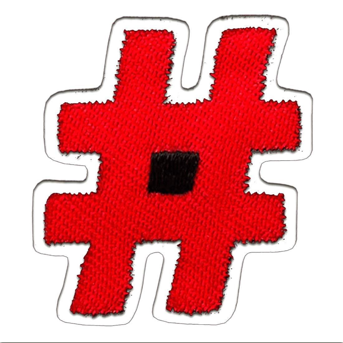 Aufnäher 3x3,3 cm rot//schwarz Bügelbild Hashtag Raute