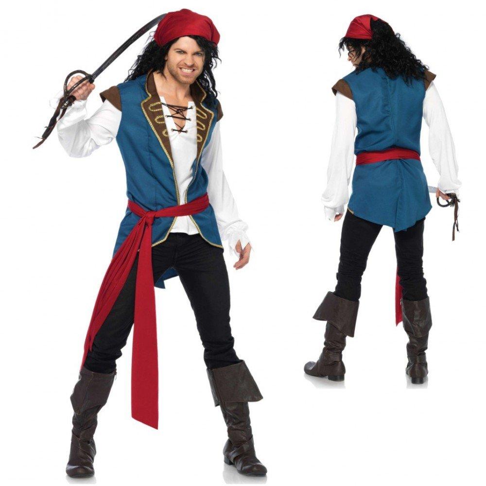 Kostüm Pirat Scoundrel Gr.STD und XL Hemd mit Weste, Schärpe & Kopftuch Seeräuber (STD)