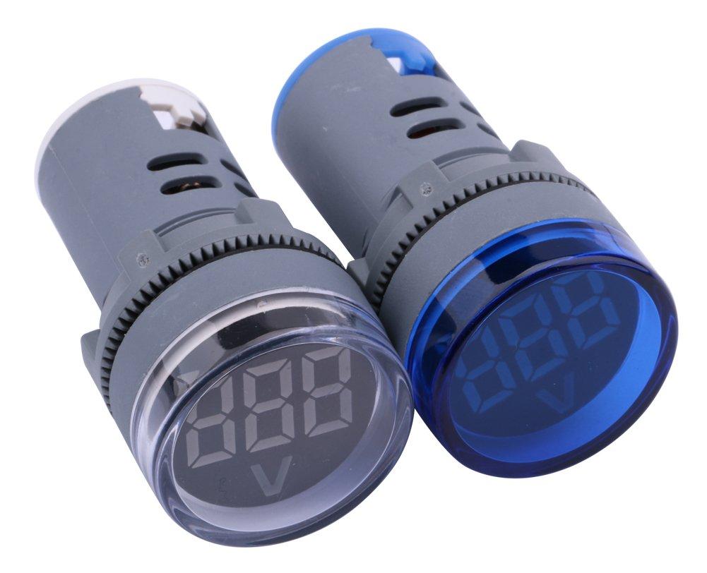Yeeco 2 PCs Blue White LED Display Digital Mini Voltmeter AC 80-500V Voltage Meter Gauge Tester Volt Monitor Light Panel