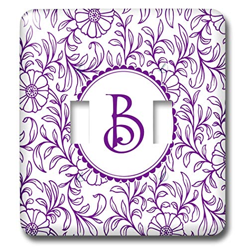 3dRose Russ Billington Monograms- Swirly Floral- Letter B - Letter B in Circle over Swirly Floral Pattern in Purple and White - Light Switch Covers - double toggle switch (lsp_298820_2)
