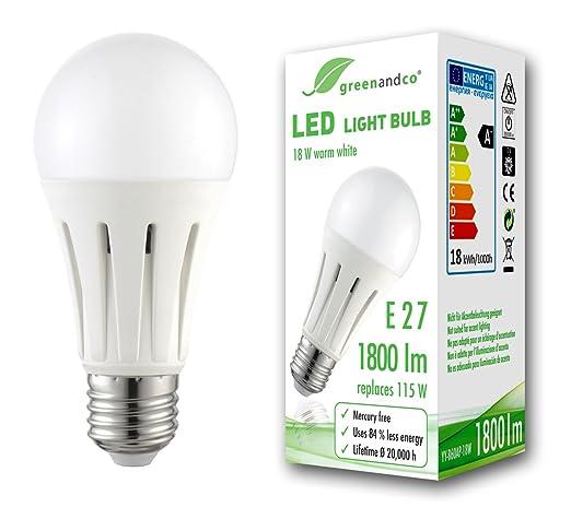 Bombilla LED greenandco® E27 18W (corresponde a 115W) opaca 1800lm 3000K (blanco