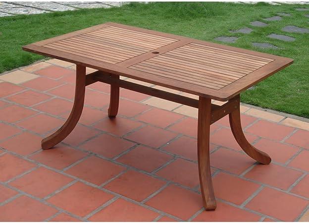 Amazon Com Vifah Outdoor Atlantic Rectangular Table With Curved Legs Patio Dining Tables Garden Outdoor