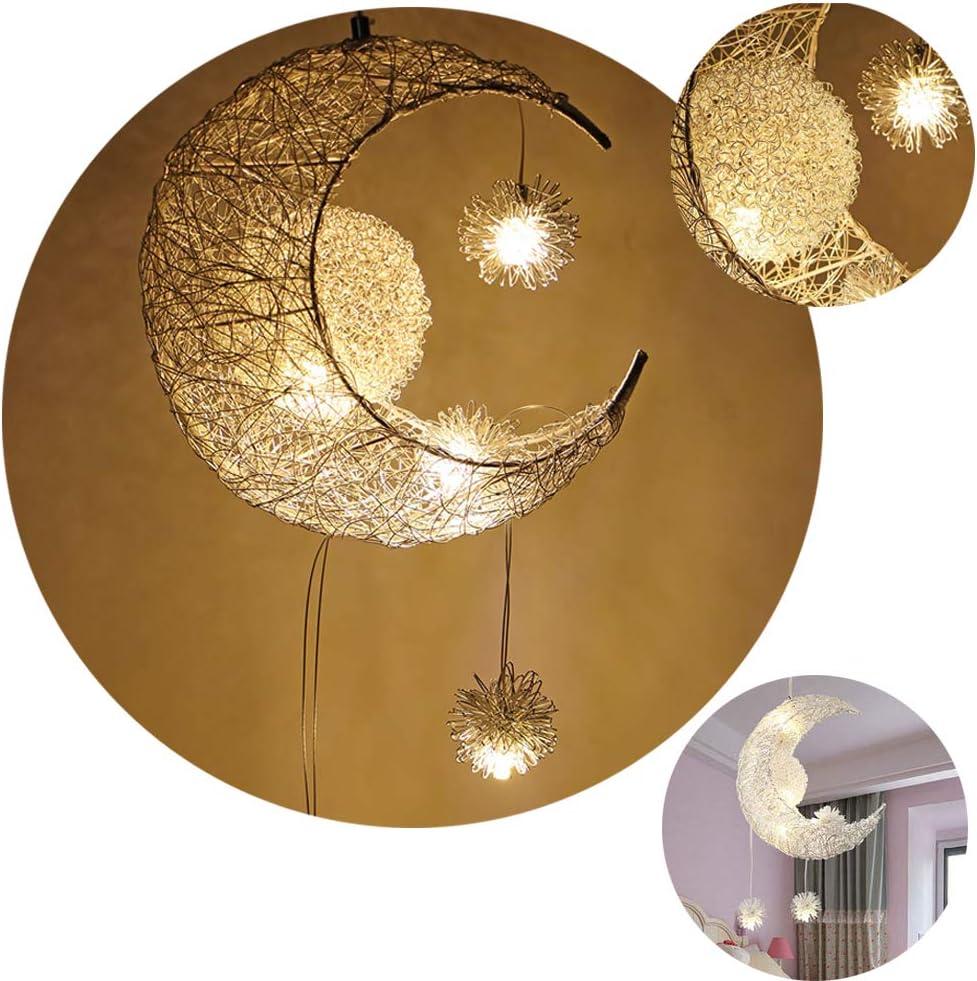 SmartHitech LED Lámpara de Techo - Lámpara Colgante Luna Moderna - Luz de Hadas, Luces de Hierro Forjado Ajustables - Decoración de Dormitorio de Niña, Blanco Cálido