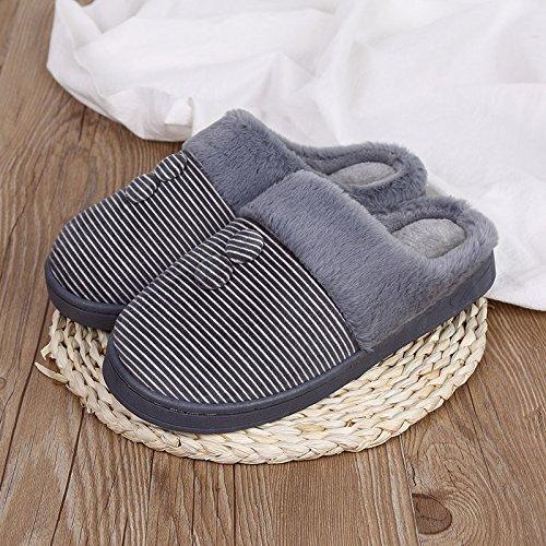 Hiver Fankou Hommes Et Femmes Paire De Pantoufles De Coton Pièce Intérieure Maison Anti-dérapant Pantoufles Chaudes En Coton, 42-43 Broches, Mâle Gris