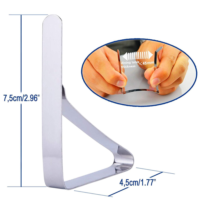 Pranzo Clip Tovaglia Tovaglia Titolari 12 Confezioni Panno Copertura Pinza per Casa Picnic Argento
