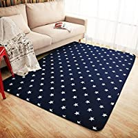 LOCHAS Star Children Play Mat Blue Decor Carpet Perfect for Nursery Kids Room Playroom Rug, 6.1 X 6.1ft/185 X 185cm