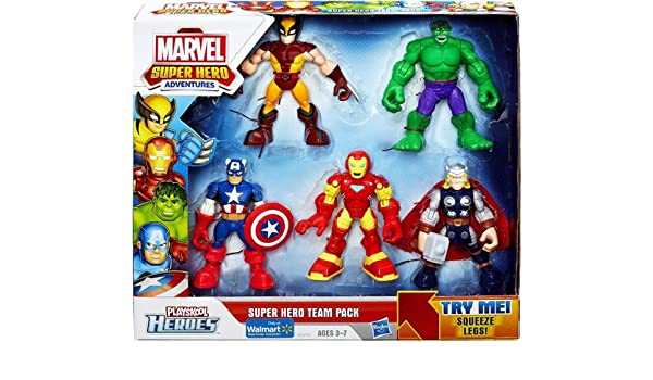 Playskool Heroes, Marvel Super Hero Adventures, Super Hero Team Pack [Wolverine, Hulk, Captain America, Iron Man, and Thor]: Amazon.es: Juguetes y juegos