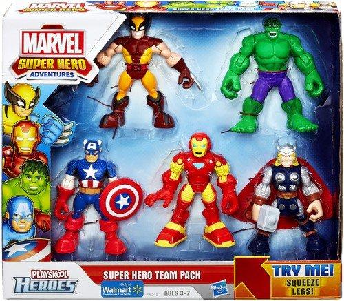 Playskool Heroes, Marvel Super Hero Adventures, Super Hero Team Pack [Wolverine, Hulk, Captain America, Iron Man, and Thor] (Super Marvel Avengers Hero Squad)