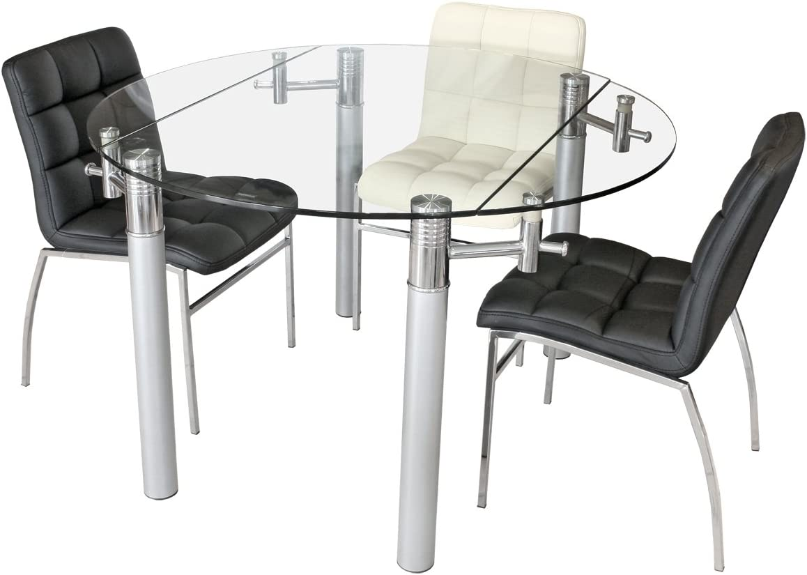 Stickbase Ltd Alicia Extending Glass Dining Table Clear Tempered